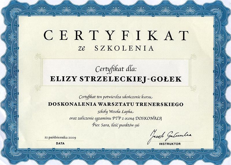 Certyfikat - szkolenie psów metodami pozytywnymi