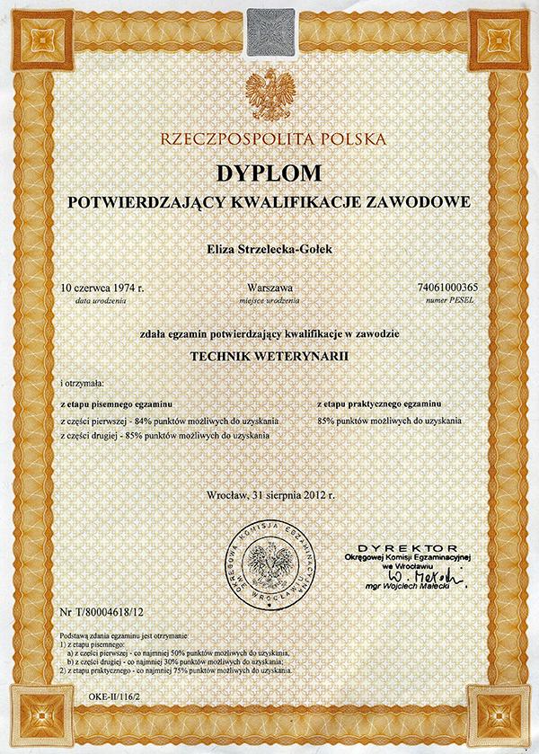Dyplom właścicielki hotelu dla psów Animal Inn - Technik Weterynarii